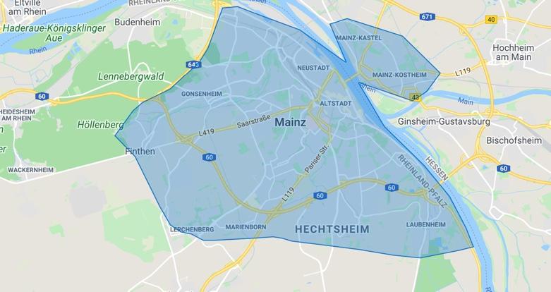 Liefergebiete Mainz Liefert